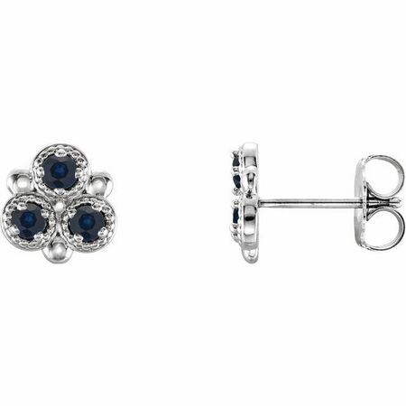 Created Sapphire Earrings in 14 Karat White Gold Chatham Lab-Created Genuine Sapphire Three-Stone Earrings