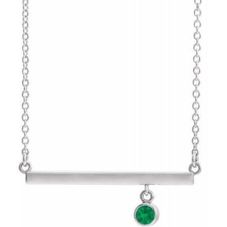 Chatham Created Emerald Necklace in 14 Karat White Gold Chatham Lab-Created Emerald Bezel-Set Bar 18