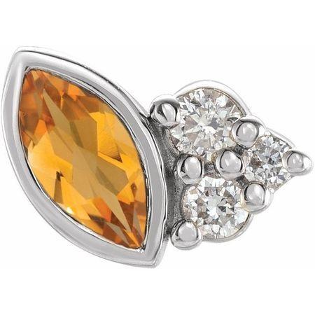 14 Karat White Gold Citrine & .03 Carat Weight Diamond Left Earring
