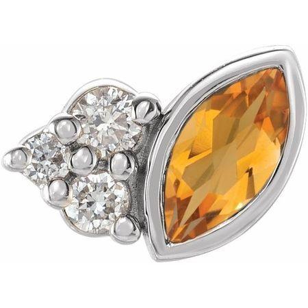 14 Karat White Gold Citrine & .03 Carat Weight Diamond Right Earring