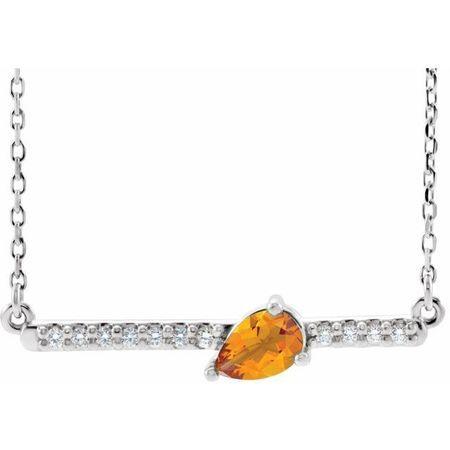 Golden Citrine Necklace in 14 Karat White Gold Citrine & 1/10 Carat Diamond 18