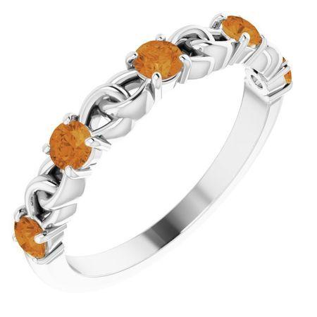 Golden Citrine Ring in 14 Karat White Gold Citrine Stackable Link Ring