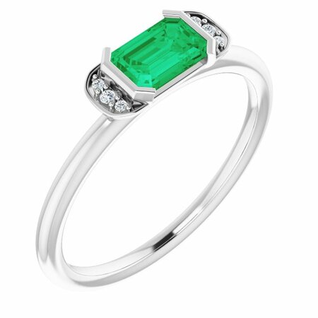 Genuine Emerald Ring in 14 Karat White Gold Emerald & .02 Carat Diamond Stackable Ring