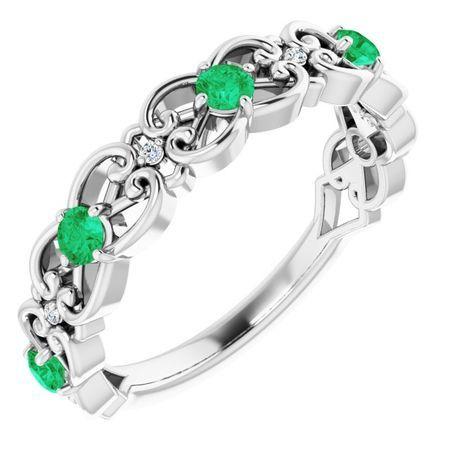 Genuine Emerald Ring in 14 Karat White Gold Emerald & .02 Carat Diamond Vintage-Inspired Scroll Ring