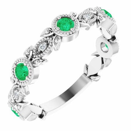Genuine Emerald Ring in 14 Karat White Gold Emerald & .03 Carat Diamond Leaf Ring