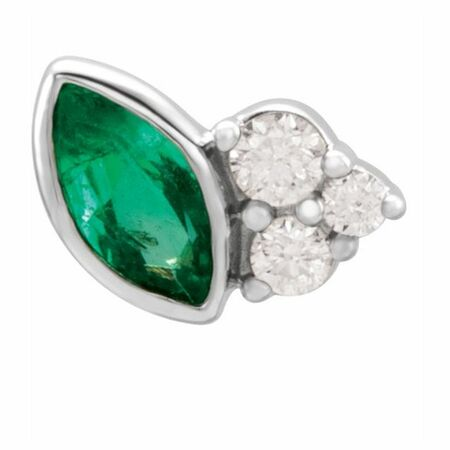 Genuine Emerald Earrings in 14 Karat White Gold Emerald & .03 Carat Diamond Left Earring