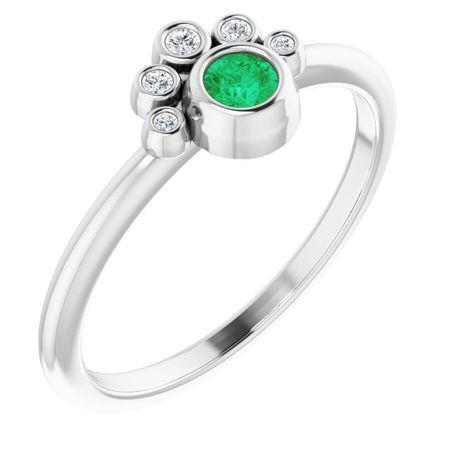 Genuine Emerald Ring in 14 Karat White Gold Emerald & .04 Carat Diamond Ring
