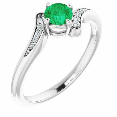 Genuine Emerald Ring in 14 Karat White Gold Emerald & .04 Carat Diamond Ring