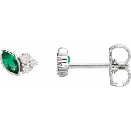 Genuine Emerald Earrings in 14 Karat White Gold Emerald & .05 Carat Diamond Earrings