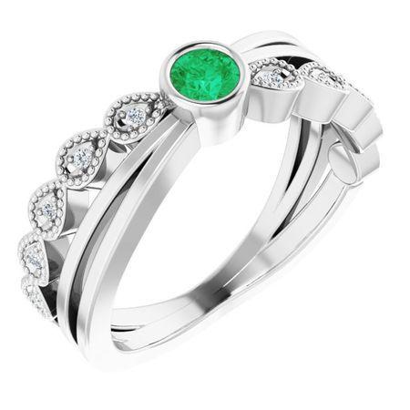 Genuine Emerald Ring in 14 Karat White Gold Emerald & .05 Carat Diamond Ring