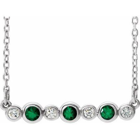 Genuine Emerald Necklace in 14 Karat White Gold Emerald & .08 Carat Diamond Bezel-Set Bar 16-18