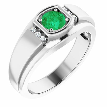 Genuine Emerald Ring in 14 Karat White Gold Emerald & .08 Carat Diamond Men's Ring