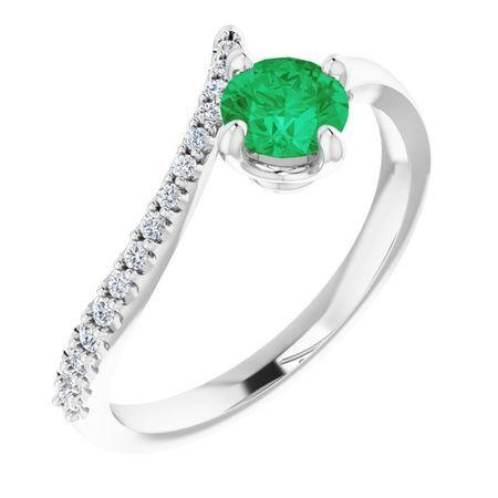 Genuine Emerald Ring in 14 Karat White Gold Emerald & 1/10 Carat Diamond Bypass Ring