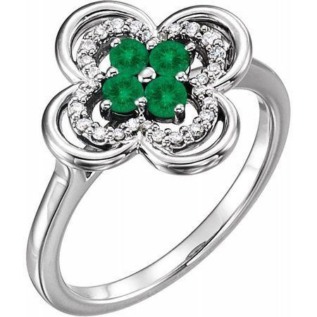 Genuine Emerald Ring in 14 Karat White Gold Emerald & 1/10 Carat Diamond Ring