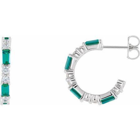 Genuine Emerald Earrings in 14 Karat White Gold Emerald & 1/2 Carat Diamond Earrings