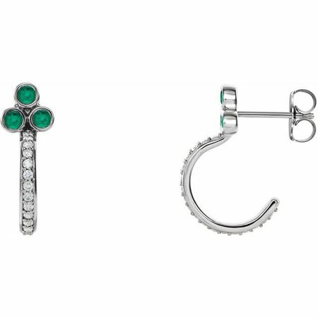 Genuine Emerald Earrings in 14 Karat White Gold Emerald & 1/4 Carat Diamond J-Hoop Earrings