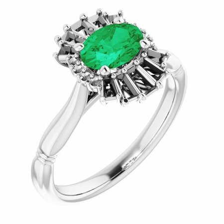 Genuine Emerald Ring in 14 Karat White Gold Emerald & 1/4 Carat Diamond Ring