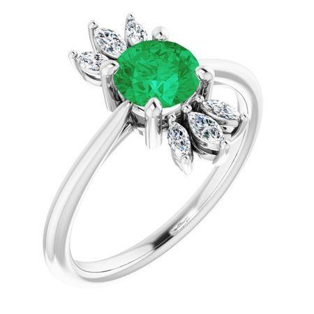 Genuine Emerald Ring in 14 Karat White Gold Emerald & 1/4 Carat Diamond Ring