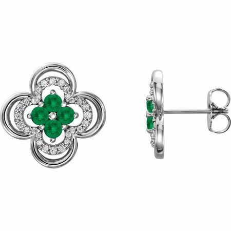 Genuine Emerald Earrings in 14 Karat White Gold Emerald & 1/5 Carat Diamond Clover Earrings