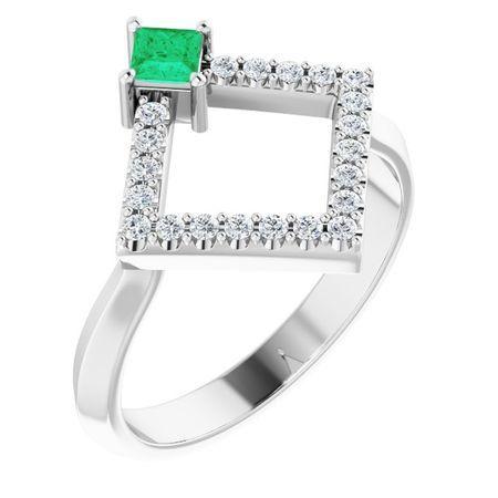 Genuine Emerald Ring in 14 Karat White Gold Emerald & 1/5 Carat Diamond Geometric Ring