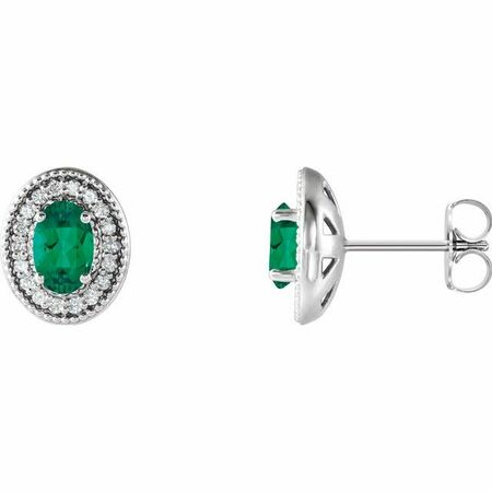 Genuine Emerald Earrings in 14 Karat White Gold Emerald & 1/5 Carat Diamond Halo-Style Earrings