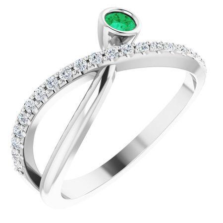 Genuine Emerald Ring in 14 Karat White Gold Emerald & 1/5 Carat Diamond Ring