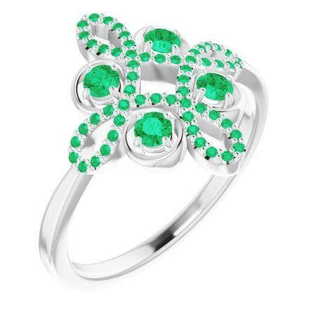 Genuine Emerald Ring in 14 Karat White Gold Emerald & 1/6 Carat Diamond Clover Ring