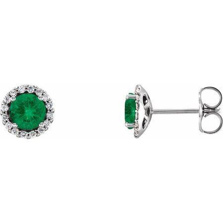 Genuine Emerald Earrings in 14 Karat White Gold Emerald & 1/6 Carat Diamond Earrings