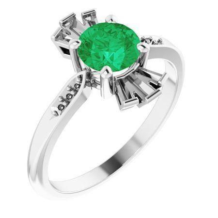 Genuine Emerald Ring in 14 Karat White Gold Emerald & 1/6 Carat Diamond Ring