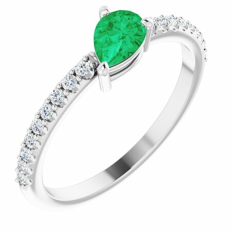 Genuine Emerald Ring in 14 Karat White Gold Emerald & 1/6 Carat Diamond Ring