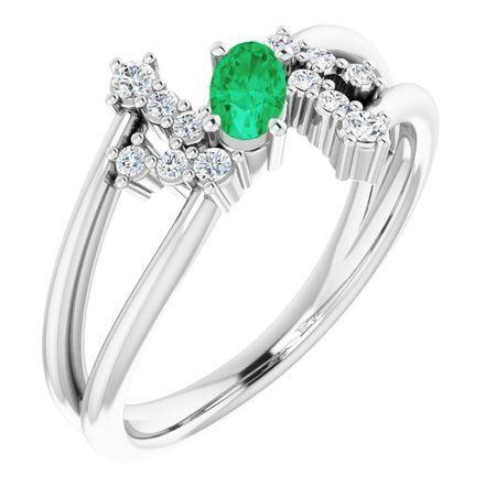 Genuine Emerald Ring in 14 Karat White Gold Emerald & 1/8 Carat Diamond Bypass Ring