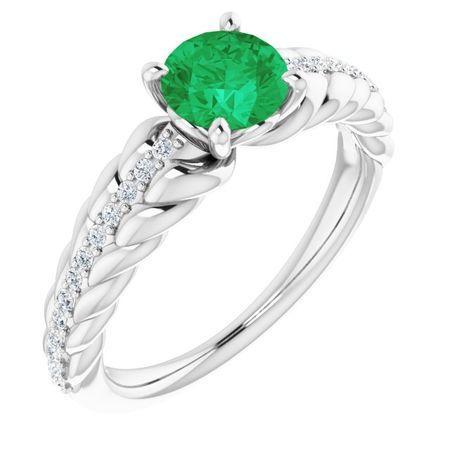 Genuine Emerald Ring in 14 Karat White Gold Emerald & 1/8 Carat Diamond Ring