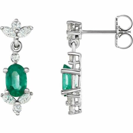 Genuine Emerald Earrings in 14 Karat White Gold Emerald & 3/8 Carat Diamond Earrings