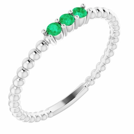 Genuine Emerald Ring in 14 Karat White Gold Emerald Beaded Ring