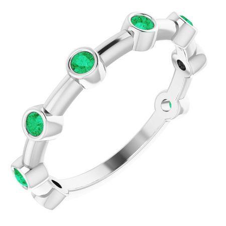 Genuine Emerald Ring in 14 Karat White Gold Emerald Bezel-Set Bar Ring