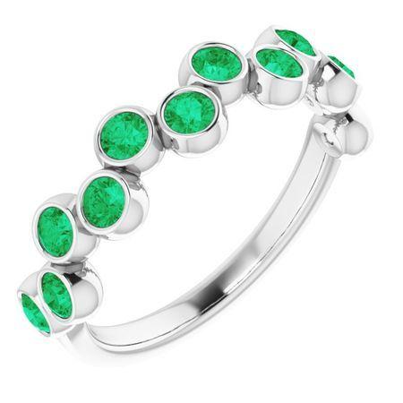 Genuine Emerald Ring in 14 Karat White Gold Emerald Bezel-Set Ring