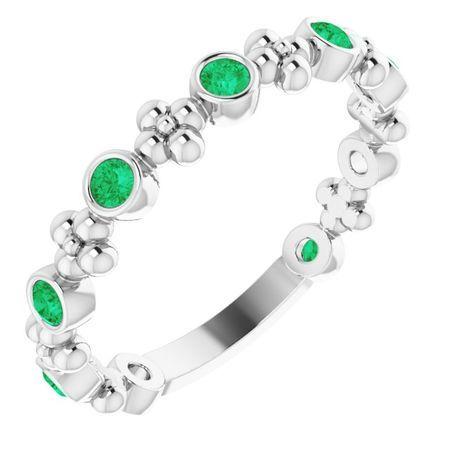 Genuine Emerald Ring in 14 Karat White Gold Emerald Garnet Beaded Ring