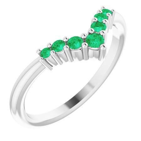 Genuine Emerald Ring in 14 Karat White Gold Emerald Graduated