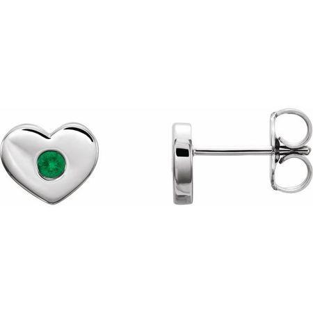 Genuine Emerald Earrings in 14 Karat White Gold Emerald Heart Earrings