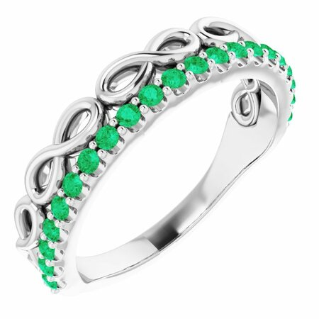 Genuine Emerald Ring in 14 Karat White Gold Emerald Infinity-Inspired Stackable Ring