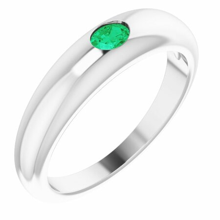 Genuine Emerald Ring in 14 Karat White Gold Emerald Petite Dome Ring