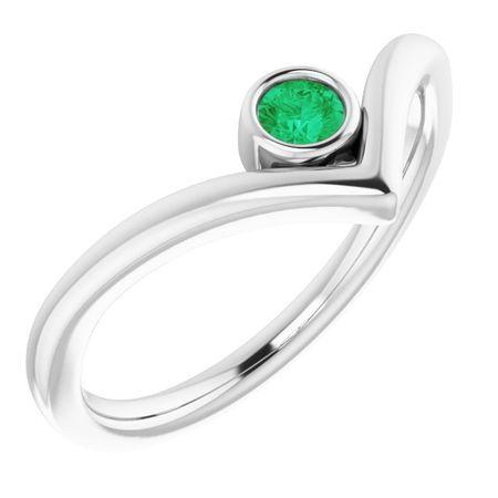 Genuine Emerald Ring in 14 Karat White Gold Emerald Solitaire Bezel-Set