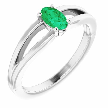 Genuine Emerald Ring in 14 Karat White Gold Emerald Solitaire Youth Ring