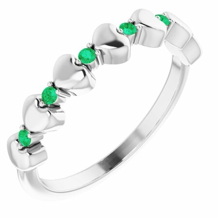 Genuine Emerald Ring in 14 Karat White Gold Emerald Stackable Heart Ring