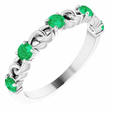 Genuine Emerald Ring in 14 Karat White Gold Emerald Stackable Link Ring
