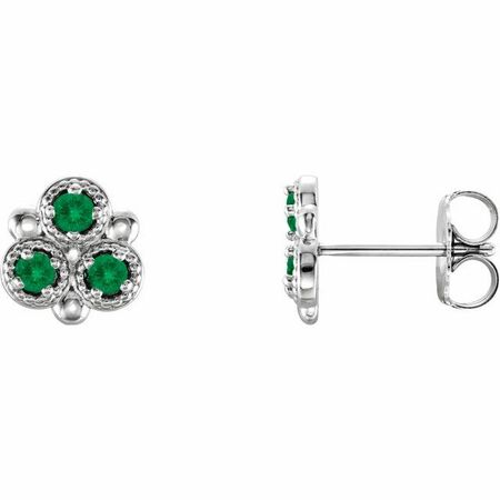 Genuine Emerald Earrings in 14 Karat White Gold Emerald Three-Stone Earrings