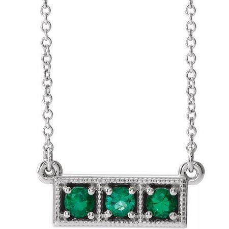 Genuine Emerald Necklace in 14 Karat White Gold Emerald Three-Stone Granulated Bar 16-18