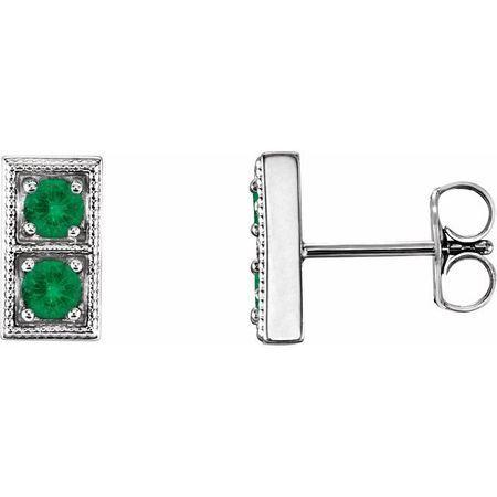 Genuine Emerald Earrings in 14 Karat White Gold EmeraldTwo-Stone Earrings