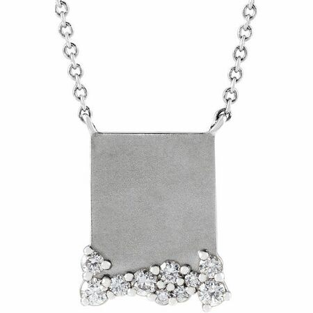 Genuine Diamond Necklace in 14 Karat Genuine Gold Engravable 1/5 Carat Diamond 18