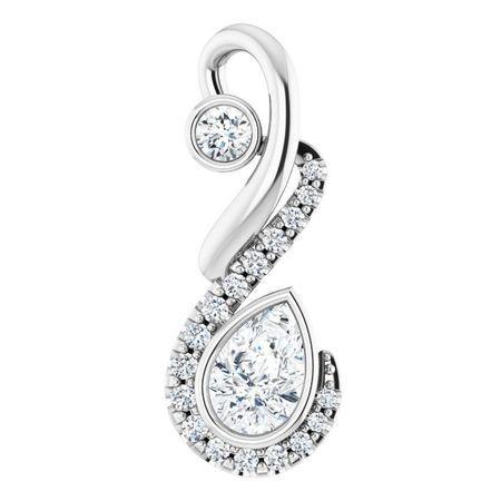 White Diamond Pendant in 14 Karat White Gold Freeform 1/2 Carat Diamond Pendant